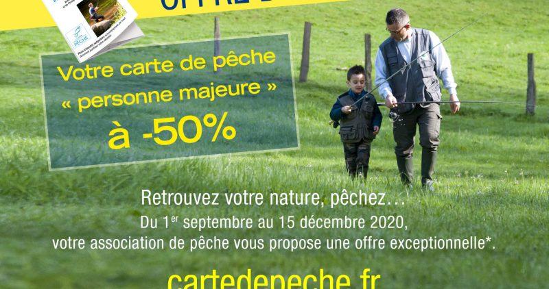 """Offre d'Automne 2020 : Votre carte de pêche """"Personne Majeur"""" à – 50%"""